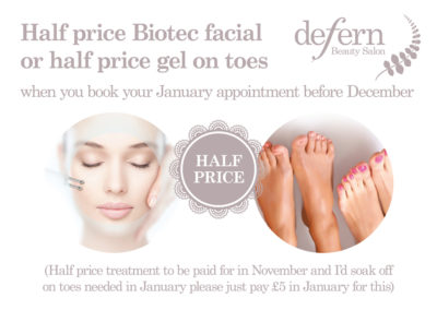 Half price biotec facials and gel on toes